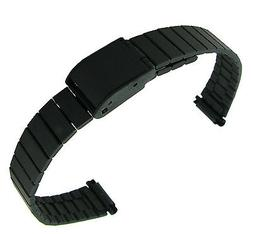 10-13mm T&C Ion Plated PVD Foldover Clasp Black Ladies Watch