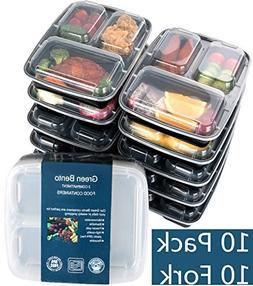 10 Pack Meal Prep Containers 3 Compartment Reusable Plastic