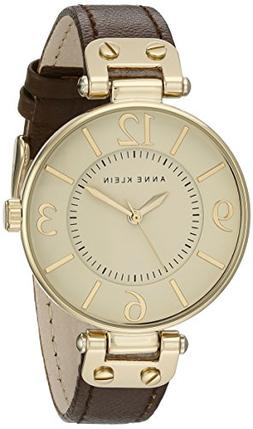 Anne Klein Women's 109168IVBN Gold-Tone and Brown Leather St