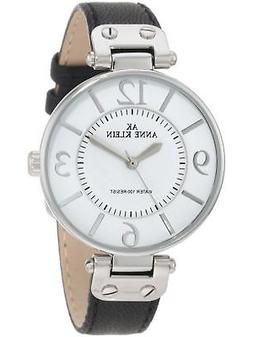 Anne Klein Women's 109169WTBK Silver-Tone and Black Leather