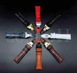 12-24MM Watch Band Strap Genuine Leather Alligator Deploymen