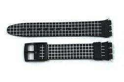 12mm Ladies White Checkered PVC Replacement Watch Band Strap