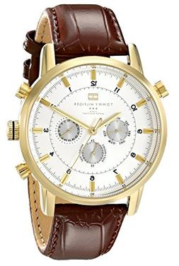 Tommy Hilfiger Men's 1790874 Gold-Tone Watch with Brown Leat