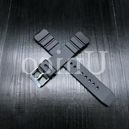 18 20 22 MM Black Silicone Rubber Watch Band Strap Fits Casi