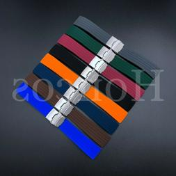 18-22 MM Color Silicone Rubber Watch Band Strap Deployment C