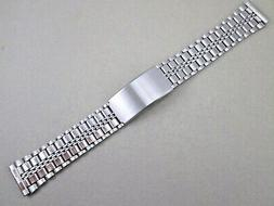 18mm lug sized silver tone stainless steel watch band fold o