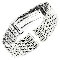 18mm Speidel Stainless Steel Silver Single Fold over Clasp M