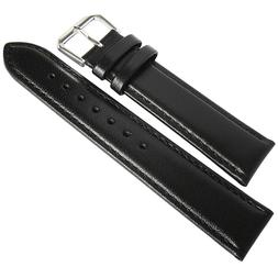 19mm deBeer Mens SHORT Black Smooth Leather Watch Band Strap