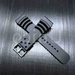 20 22 24 MM Black Silicone Rubber Watch Band Strap Fits Seik