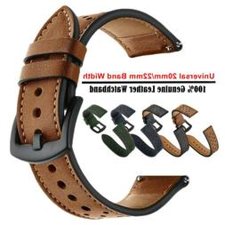 20mm 22mm Premium Genuine Leather Watch Band Strap Quick-Fit