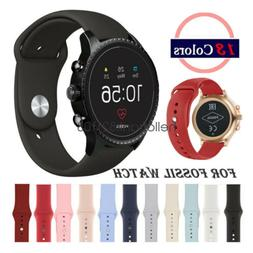 20mm 22mm Soft Silicone Sport Watch Band Strap For Fossil Qu