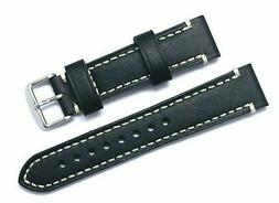 20mm Black Genuine Leather White Stitching Replacement Watch