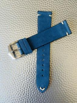 20mm blue vintage leather watch band strap