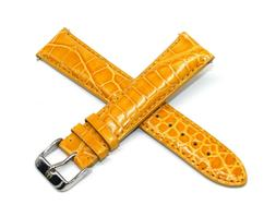 20MM Genuine Alligator Leather Watch Band YELLOW GOLD w/ Tec