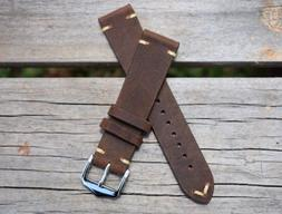 20mm Genuine Leather Watch Band Strap Handmade Brown fits AL