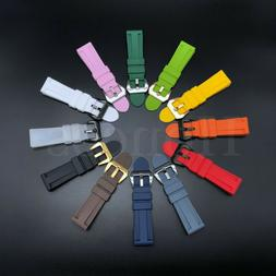 22mm-26mm Silicone Rubber Watch Band Replace For Panerai Str