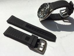 22mm Black Silicone Rubber Watch Band Strap for Seiko Diver