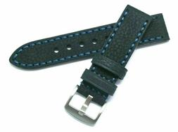 22mm Black HQ Oily Cowhide Leather Replacement Watch Band -