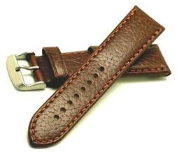 22mm Brown Camel Grain Calf Leather Replacement Watch Band -