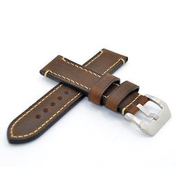22mm Brown Watch Band Strap Italy Leather Handmade Strap for