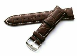 22mm Brown/White Leather Replacement Alligator Watch Band -