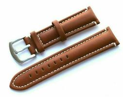 22mm Replacement Brown Leather White Stitched Watch Band - C