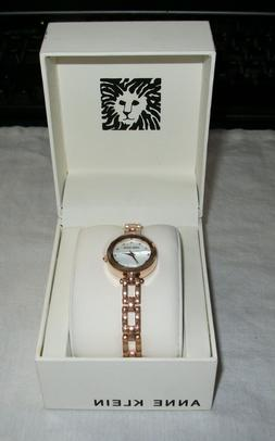 Anne Klein 22mm Rose Gold-Tone Stainless Steel Women's Cryst