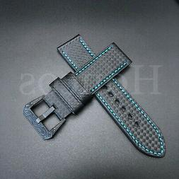 24MM Carbon Fiber Black Blue Leather Watch Band Strap For Pa