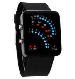 Fanmis 29 LED Sector Blue Red Light Digita Date Black Silico
