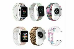 38/42mm iWatch Leather Band Painted Flower Women Wrist Strap