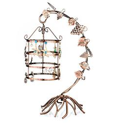MyGift 4 Tier Bird Cage Décor Rotating Table Top Earrings O
