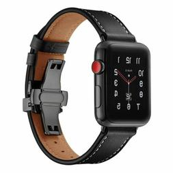 40/44mm Butterfly Buckle iWatch Leather Band Strap Apple Wat