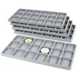 5 Gray 18 Slot Coin Jewelry Showcase Display Tray Inserts