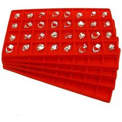 5 Red 32 Slot Jewelry Coin Display Travel Tray Inserts