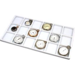 5 White 18 Slot Jewelry Coin Display Travel Tray Inserts
