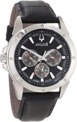 Bulova Men's 96C113 Stainless Steel Watch with Black Leather