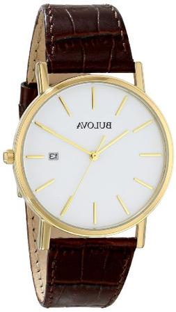 Bulova Men's 97B100 Gold-Tone Stainless Steel Watch With Bro