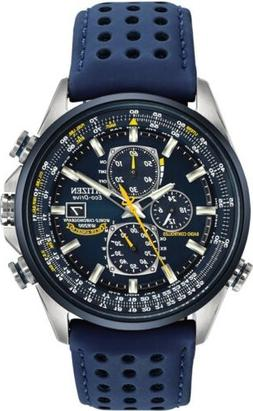 Citizen Eco-Drive Blue Angels Blue Dial Leather SS Chrono Me