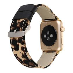 For Apple Watch Band 38MM, HP95 Fashion Classic Leopard Leat