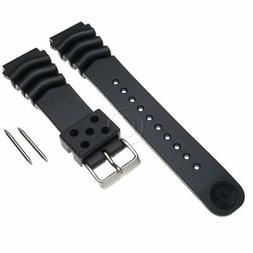 Seiko Z22 Black Rubber Watch Band Curved Vent ALL SKX Diver