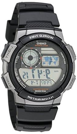 Casio Mens AE1000W-1BVCF Silver-Tone and Black Digital Sport