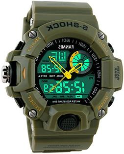 Fanmis Men's Sports Analog Digital LED Watch Military Multif