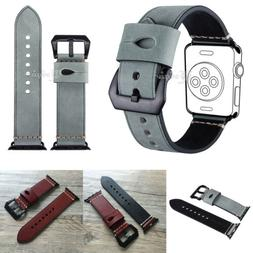 For Apple Watch 40/44mm Leather Wrist Band Strap iWatch Seri