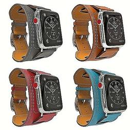 For Apple Watch Band Series 4 38/40mm 42/44mm Genuine Leathe