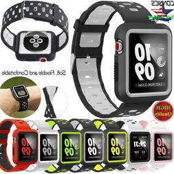 For Apple Watch Band With Case, Soft Silicone Sport Strap iW