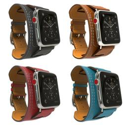 For Apple Watch Cuff Band Series 5 Genuine Leather Strap iwa