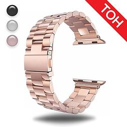 for Apple Watch Rose Gold 38MM Stainless Steel Strap Wristba