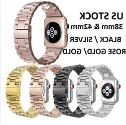 For Apple Watch Series 3/2/1 Stainless Steel Wrist iWatch Ba