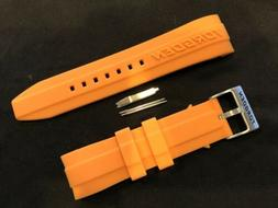 Authentic Torgoen 24mm Silicone Watch Band - Orange Form Fit