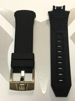 Authentic TechnoMarine Black Silicone Strap Gold Buckle 45mm
